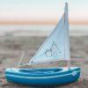 Toy wooden sailing boat ~ Sandcastle Blue (20cm)