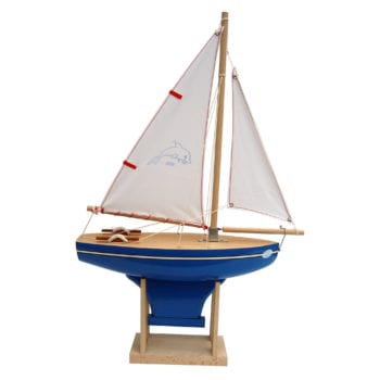 Wooden Toy Sailing Boat Dolphin Blue
