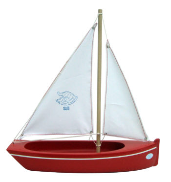 Small red toy boat