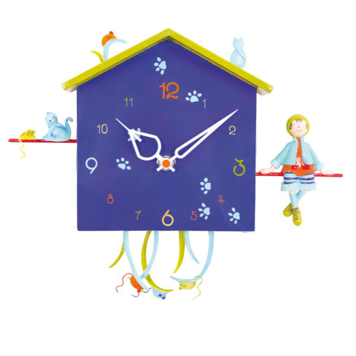 Boy and the cats clock