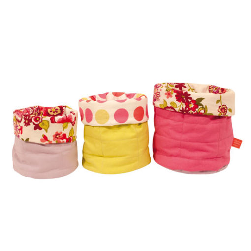 Little French Heart - little material storage pouches with flowers and dots