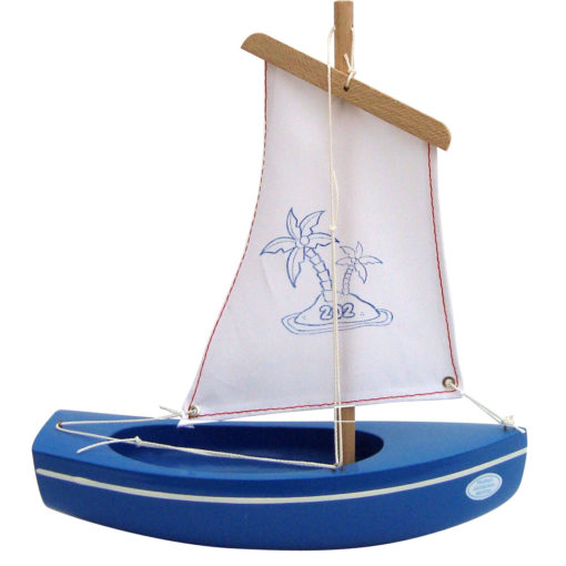 Small Blue Wooden Toy Boat