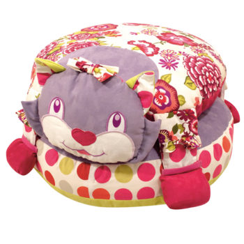 Little French Heart - pussy cat pouffe pink and purple