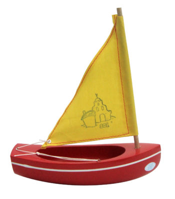 Little French Heart toy sailing boat 201 red-gold, Toy Wooden Boat Sandcastle Red and Gold