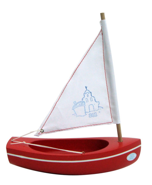Small Red Wooden Toy Boat, Little French Heart toy sailing boat 201 red-white