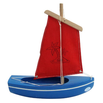 Little French Heart wooden toy sailing boat 202 blue red image