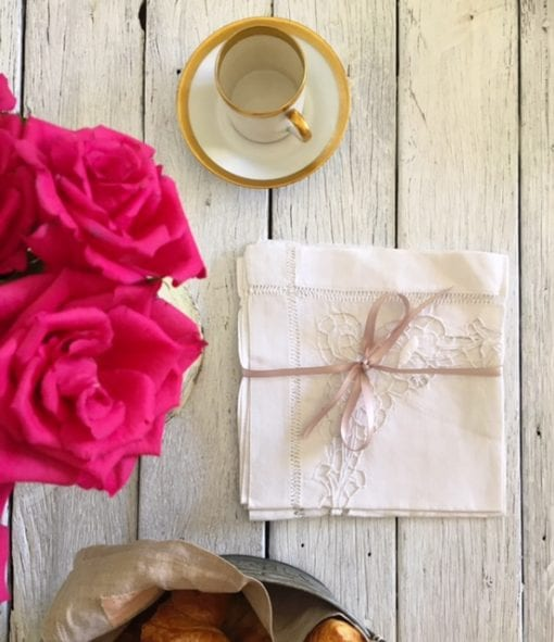 French Vintage White Linen Lace napkins Set of 6 with French antique coffee cup