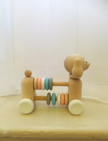 Traditional Wooden Learning Toy Dog with Counting Beads