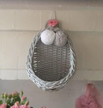 Lilu Vintage Wicker Wall Basket Grey