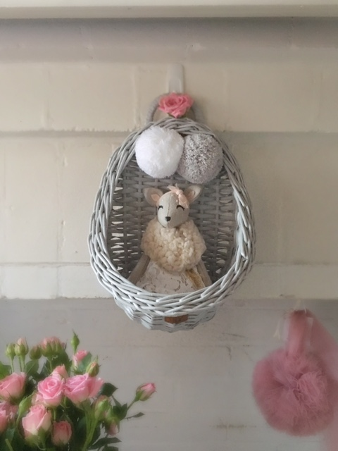 Lilu Vintage Wicker Wall Basket Grey with French Doll