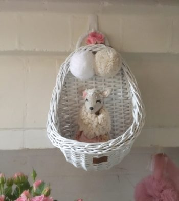 Lilu Vintage Wicker Wall Basket White with French Doll