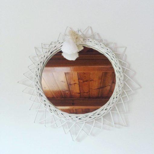 Lilu Wicker Vintage Mirror White