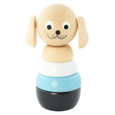 Traditional Wooden Stacking Toy Dog Puzzle Blue