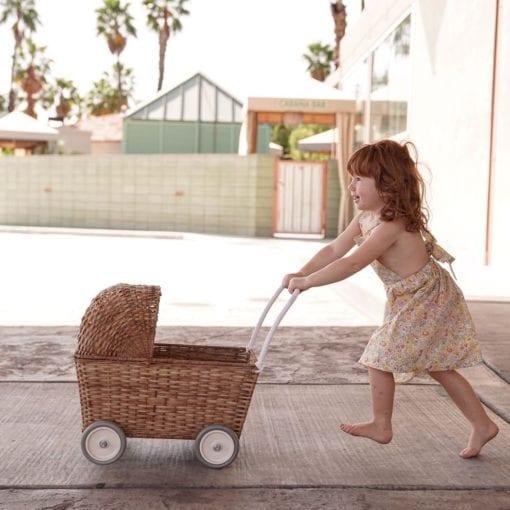 Olli Ella Kids Vintage Rattan Strolley Pram Natural