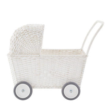 Olli Ella Rattan Strolley White Little French Heart