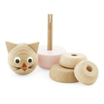 Traditional Wooden Learning Toy Cat Puzzle Pink