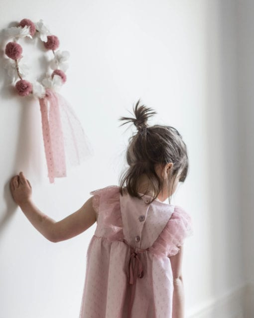 Paris Romance Plumeti Tulle Girls Dress Rose