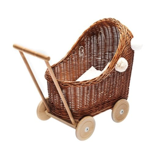 Lilu Traditional Wicker Dolls Pram natural with bedding