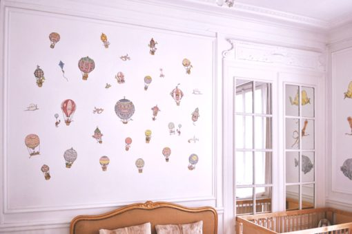 Atelier Choux Paris Reusable Nursery Wall Stickers Hot Air Balloons and Animals and Spaceships