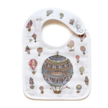 Atelier Choux Paris Organic Baby Bib Hot Air Balloons
