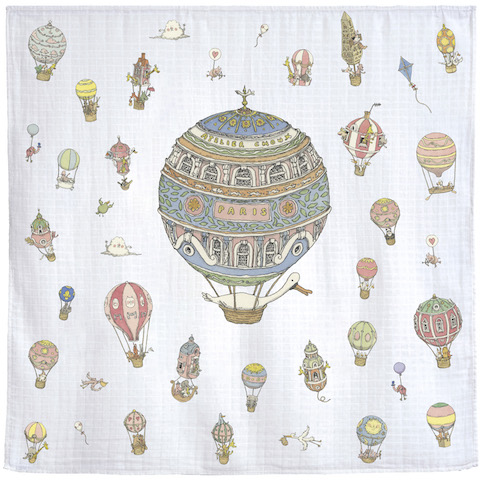 Atelier Choux Paris Organic Baby Wrap Hot Air Balloons
