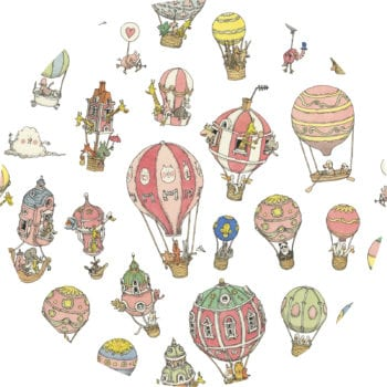 Atelier Choux Paris Organic Baby Wrap Hot Air Balloons close up