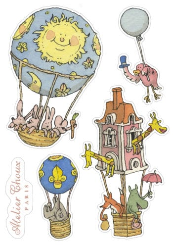 Atelier Choux Paris Reusable Nursery Wall Stickers Hot Air Balloons