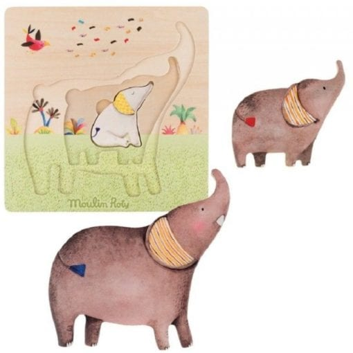 Moulin Roty Les Papoum Wooden Elephant Puzzle Little French Heart