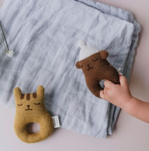 Main Sauvage Baby rattle tiger and teddy resize