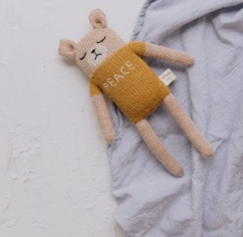 Main Sauvage Peace Teddy Knit Baby Toy
