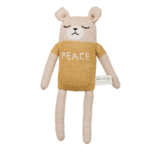 Main Sauvage Peace Teddy Knit Toy Little French Heart