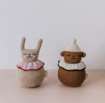 Main Sauvage Musical Rabbit and Teddy Baby Rattle Little French Heart 2