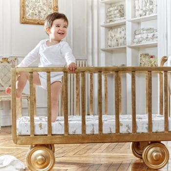 Atelier Choux Fitted Sheet Hot Air Balloon little baby in cot