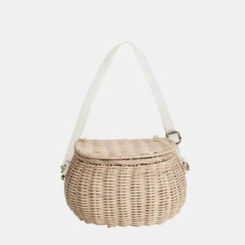 Mini Chari Bag Straw- Little French Heart