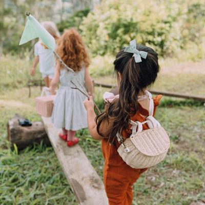 Mini Chari Bag Straw- Little French Heart