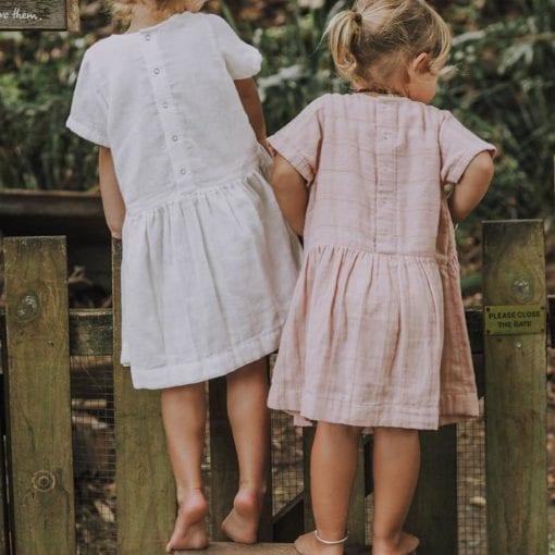 Olli Ella Clover Dresses Ivory and Rose Stripe