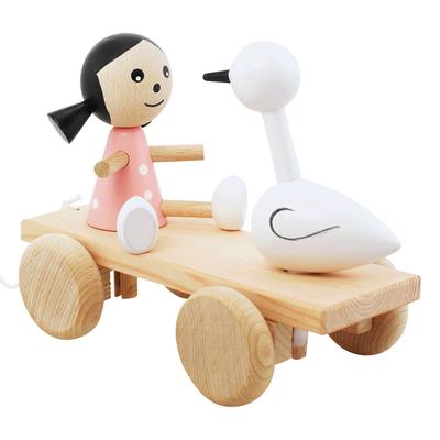 Wooden Pull Along Girl And Swan Toy
