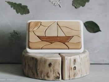 Traditional Wooden Mosaic Puzzle Sailing Boat
