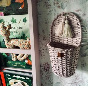 Blush Wicker Wall Basket With Tassels