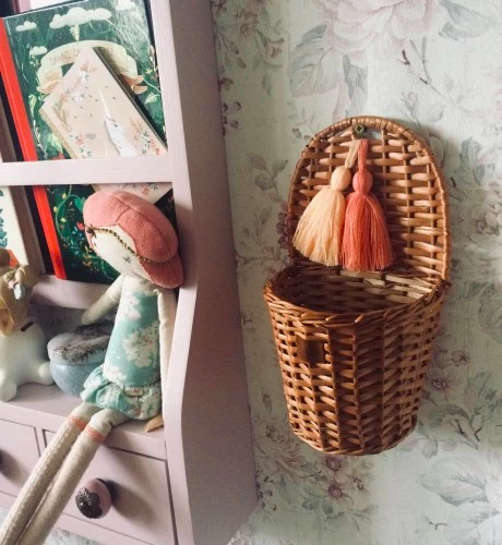 Natural Wicker Wall Basket With Tassels