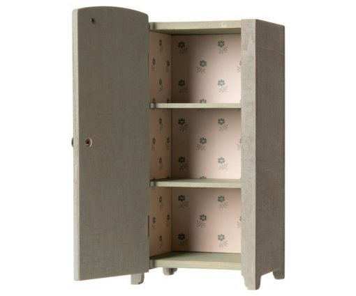 The Maileg Vintage Closet - Grey Mint with it's liberty styled lining is a dolls storage space that is both durable as it is sweet.