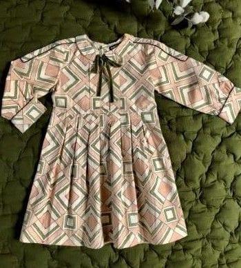 Vintage Dress Velvet Ribbon Tile Print
