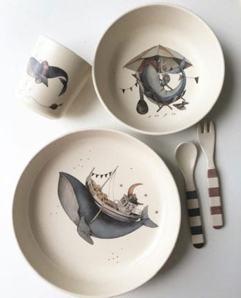 whale dinner set little french heart