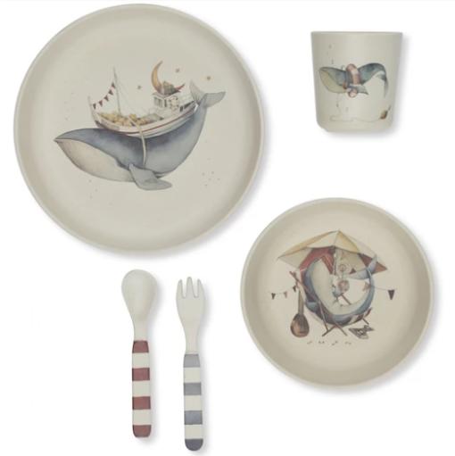 whale dinner set little french heart