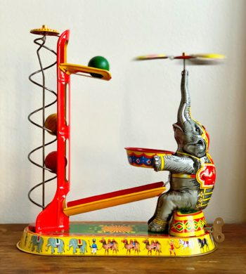 Vintage Elephant Tin Toy Collectible Gift