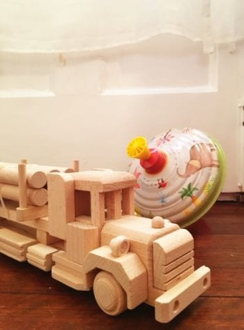 Toy wooden truck with logs