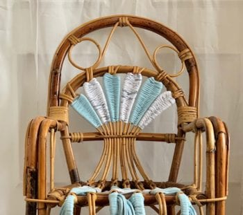 French Vintage Rattan Chair Blue Little French Heart