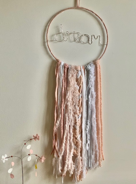 LED Dream Dreamcatcher White Pink Silver Large