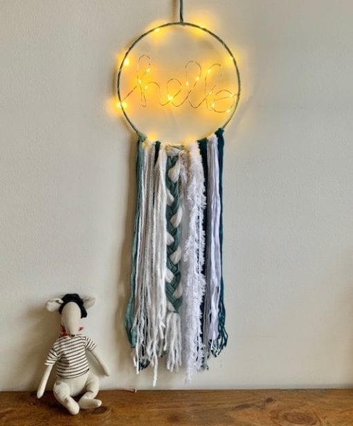LED Hello Dreamcatcher Blue White Silver Medium