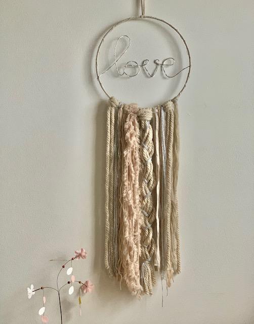 LED Love Dreamcatcher Beige Pink Silver Medium